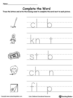 Missing vowel reading and writing worksheets for letters: U, I
