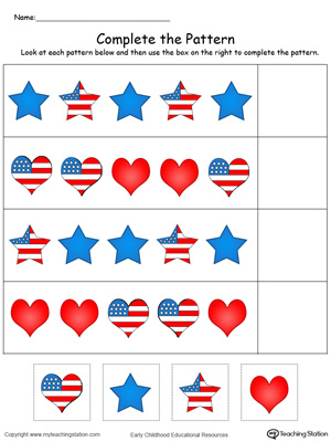 Patriotic Complete the Pattern in Color
