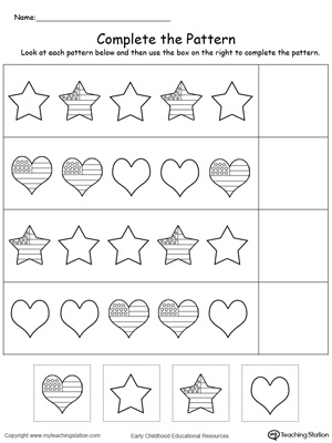 kindergarten patterns printable worksheets  myteachingstationcom patriotic complete the pattern
