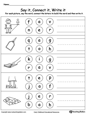 Build words by connecting the letters in this printable worksheet. Use words ending in AG, AP, AR.
