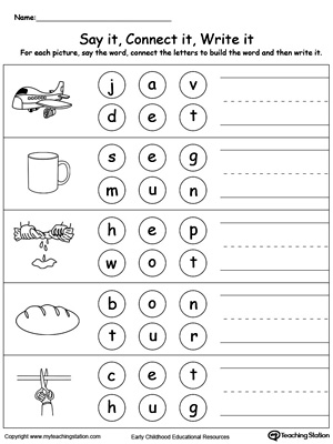 math worksheet : kindergarten building words printable worksheets  : Worksheets For Kindergarten Letters