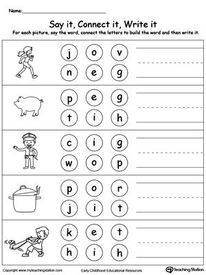 free worksheets three letter words for preschool free math worksheets for kidergarten and. Black Bedroom Furniture Sets. Home Design Ideas
