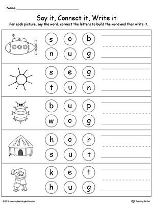 Build words by connecting the letters in this printable worksheet. Use words ending in UB, UG, UN, UT.