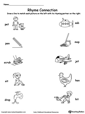 Connect Rhyming Pictures With Words Ending In ET, EN, UB, IT or OP