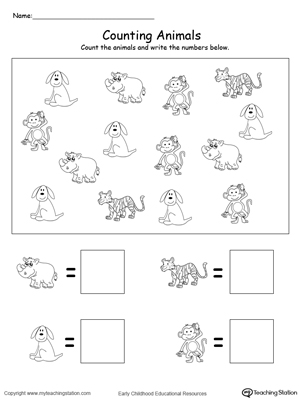 Count and Write the Number of Animals