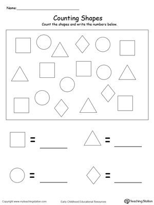Count and Write the Number of Shapes