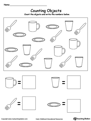 math worksheet : kindergarten numbers printable worksheets  myteachingstation  : Counting Worksheet Kindergarten