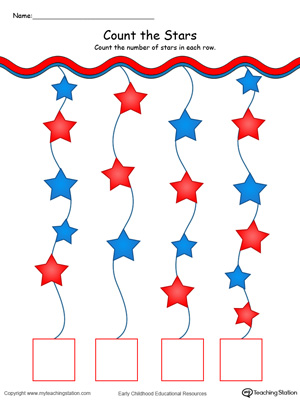 Patriotic Count and Write the Number of Stars in Color