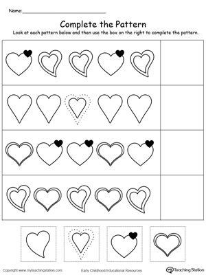 Printables Preschool Pattern Worksheets preschool patterns printable worksheets myteachingstation com cut and glue to complete the heart pattern