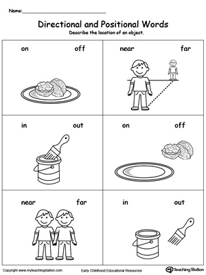 Position Words Worksheets: Early Childhood Position and Direction Worksheets    ,