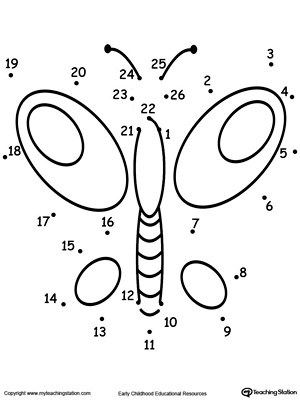 Superbe Learning To Count By Connecting The Dots 1 Through 26: Drawing A Butterfly.  DownloadFREE Worksheet