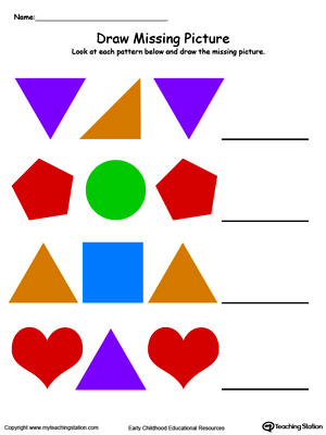 Kindergarten Patterns Printable Worksheets | MyTeachingStation.com