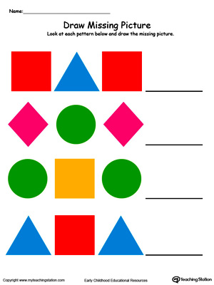 Number Names Worksheets shape worksheets for preschoolers : Preschool Patterns Printable Worksheets | MyTeachingStation.com