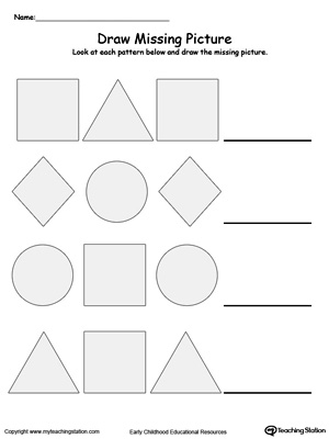 Printables Pattern Worksheets Kindergarten kindergarten patterns printable worksheets myteachingstation com draw the missing shape to complete pattern