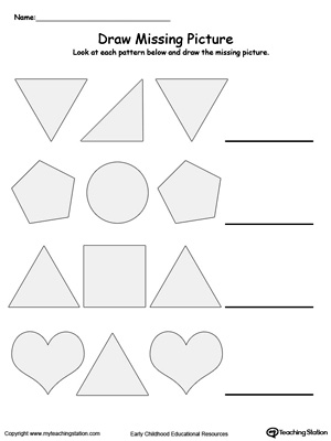 Learn to recognize and complete patterns in this Draw the Missing Picture to Complete the Pattern printable worksheet.