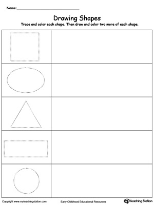 math worksheet : early childhood shapes worksheets  myteachingstation  : Shapes Worksheet For Kindergarten