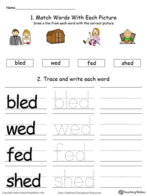Identify, trace and write words in this ED Word Family printable worksheet in color.