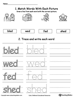 ed word family connect trace and write  myteachingstation  &