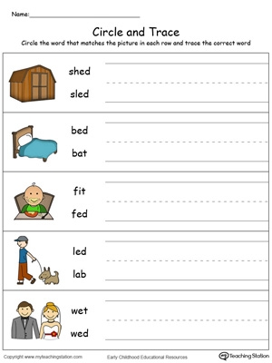 Identify Word and Write: ED Words in Color