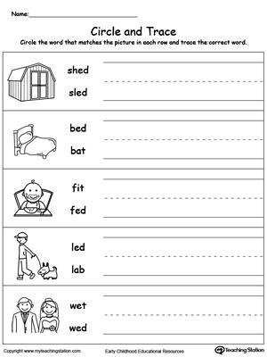 Worksheets Ed Worksheets ed word family workbook for kindergarten myteachingstation com identify and write worksheet