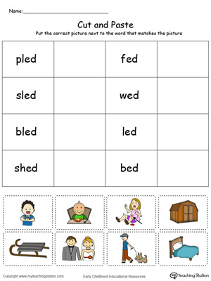 Learn word definition and spelling with this ED Word Family Match Picture with Word in Color worksheet.