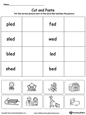 Learn word definition and spelling with this ED Word Family Match Picture with Word worksheet.