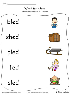 ED Word Family Picture Match in Color. Identifying words ending in  –ED by matching the words with each picture.