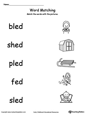 Worksheets Ed Worksheets ed word family workbook for kindergarten myteachingstation com match words with pictures worksheet