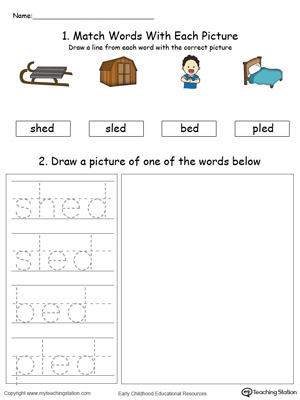 ED Word Family Phonics and Writing Practice in Color