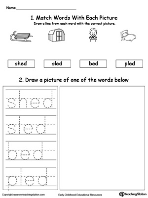 ED Word Family Phonics and Writing Practice