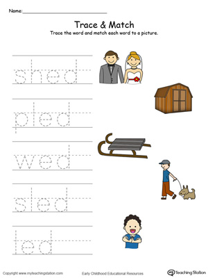 Match word with pictures in this ED Word Family printable worksheet in color.