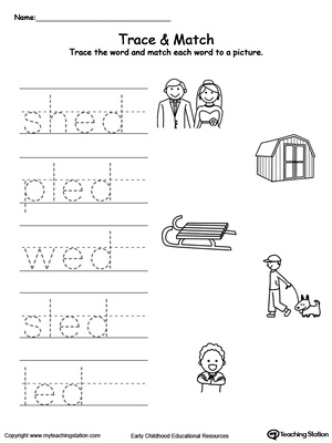 Write short words and identify sounds in this ED Word Family printable worksheet.