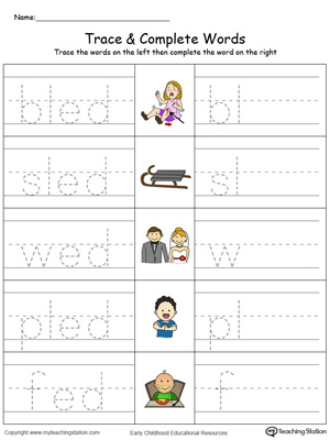 Trace then write the words themselves in this ED Word Family Trace and Write in Color printable worksheet.