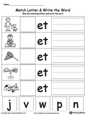 Worksheets En Word Family Worksheets en word family match letter and write the myteachingstation com et word