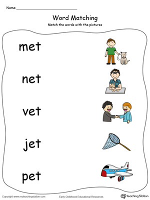 ET Word Family Picture and Word Match in Color. Identifying words ending in  –ET by matching the words with each picture.