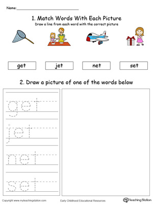 Practice drawing, tracing and identifying the sounds of the letters ET in this Word Family printable.