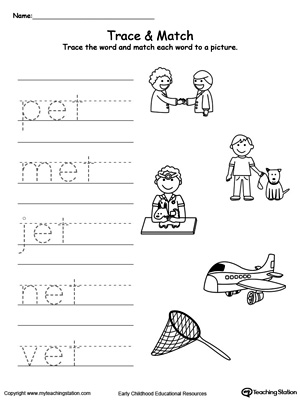 Write short words and identify sounds in this ET Word Family printable worksheet.