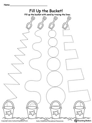 math worksheet : fill up the sand bucket by tracing the patterns  : Tracing Lines Worksheets