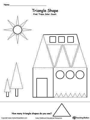 Triangle Worksheets For Kindergarten: All About Triangle Shapes   MyTeachingStation com,