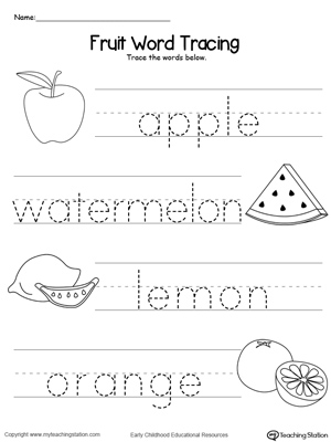 Worksheets Name Tracing Worksheet fruit word tracing myteachingstation com