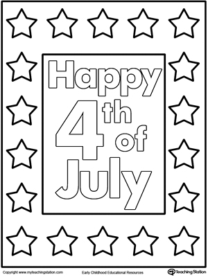 Happy 4th of july poster coloring page