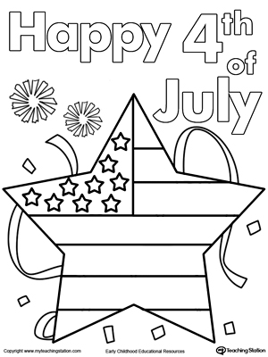 9th of July Star Flag Coloring Page | MyTeachingStation.com