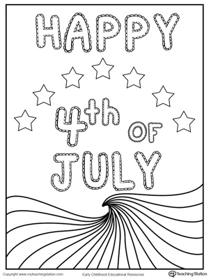 Happy 4th of July Wave Flag Coloring Page for preschool and kindergarten children to celebrate 4th of July.