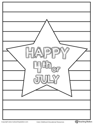 Happy 4th of July Star Coloring Page for preschool and kindergarten children to celebrate 4th of July.
