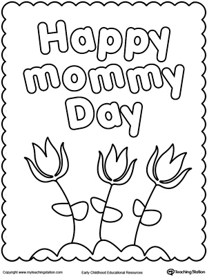 Happy mothers day coloring page