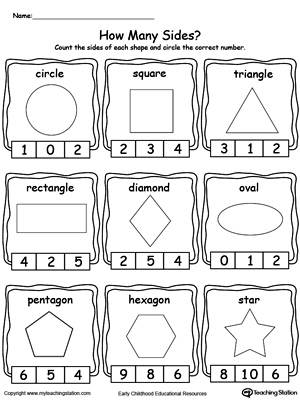 math worksheet : early childhood shapes worksheets  myteachingstation  : Kindergarten Geometry Worksheets