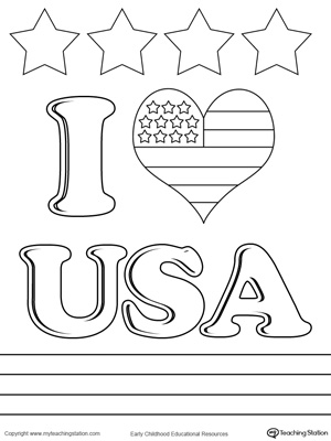 Preschool social studies printable worksheets for I love usa coloring pages