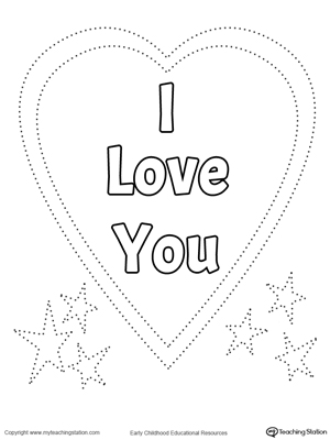 Trace and Color I Love You Heart | MyTeachingStation.com