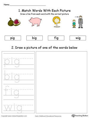 Practice drawing, tracing and identifying the sounds of the letters IG in this Word Family printable.