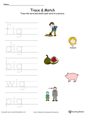 IG Word Family Trace and Match in Color